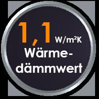Wärmedämmwert Ud=1,10 W/m²K